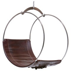 Stainless Steel and Leather Contemporary Adult Swing Chair by Egg Designs