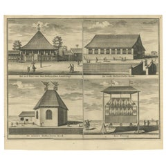 Antique Print with Four Views of Ambon by Valentijn '1726'