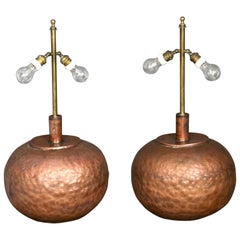 Pair of Huge Adjustable Copper Table Lamps with Brass, 1970s, Florence, Italy