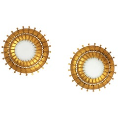 Pair of Double Layered Gilt Iron Milk Glass Sunburst Light Fixtures with Nails