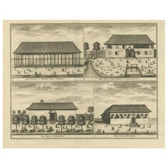 Antique Print with Four Views of Ambon ii by Valentijn, 1726