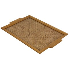 Lucite, Wicker and Wood Serving Tray, Italy Mid-Century Modern Style