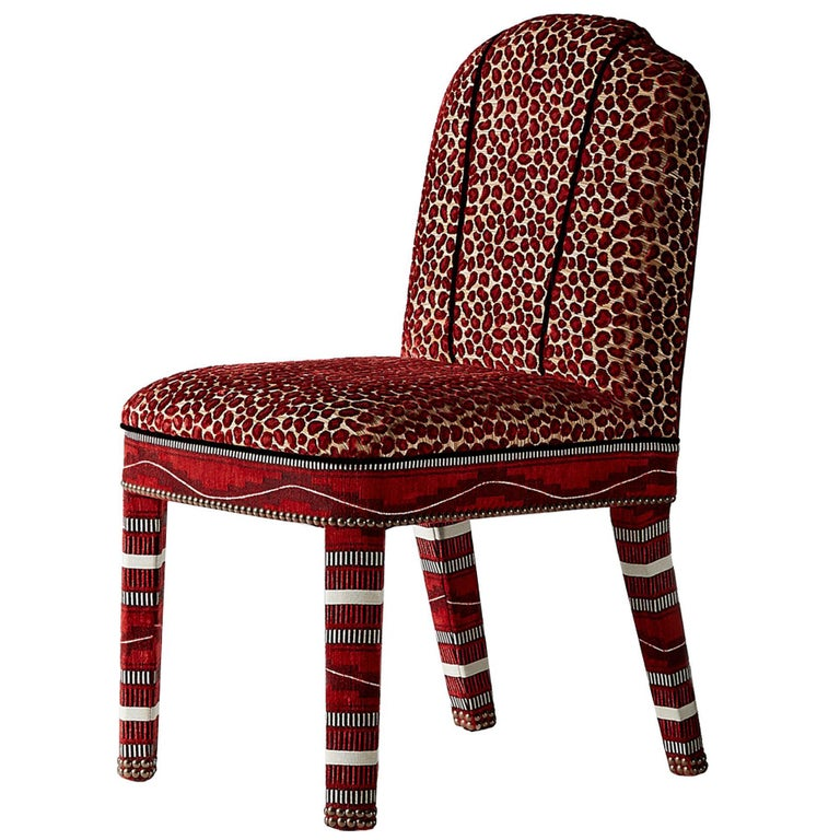 And Objects Abbas Dining Chair, Fully Upholstered in Wilde Red Velvet For Sale