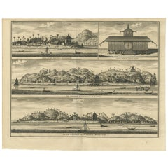 Antique Print of Hila and Fortresses by Valentijn '1726'