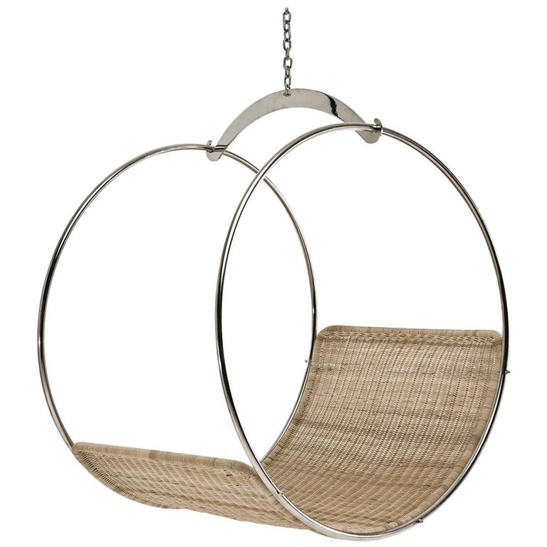 Stainless Steel and Wicker Contemporary Adult Swing Chair by Egg Designs