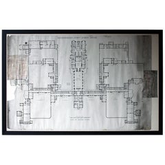 Large Victorian Architect's Site Plan for Northumberland County Lunatic Asylum