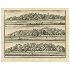 Antique Print with Three Views of Ambon by Valentijn, 1726