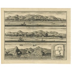 Antique Print of the Trading Posts of Ambon by Valentijn, 1726