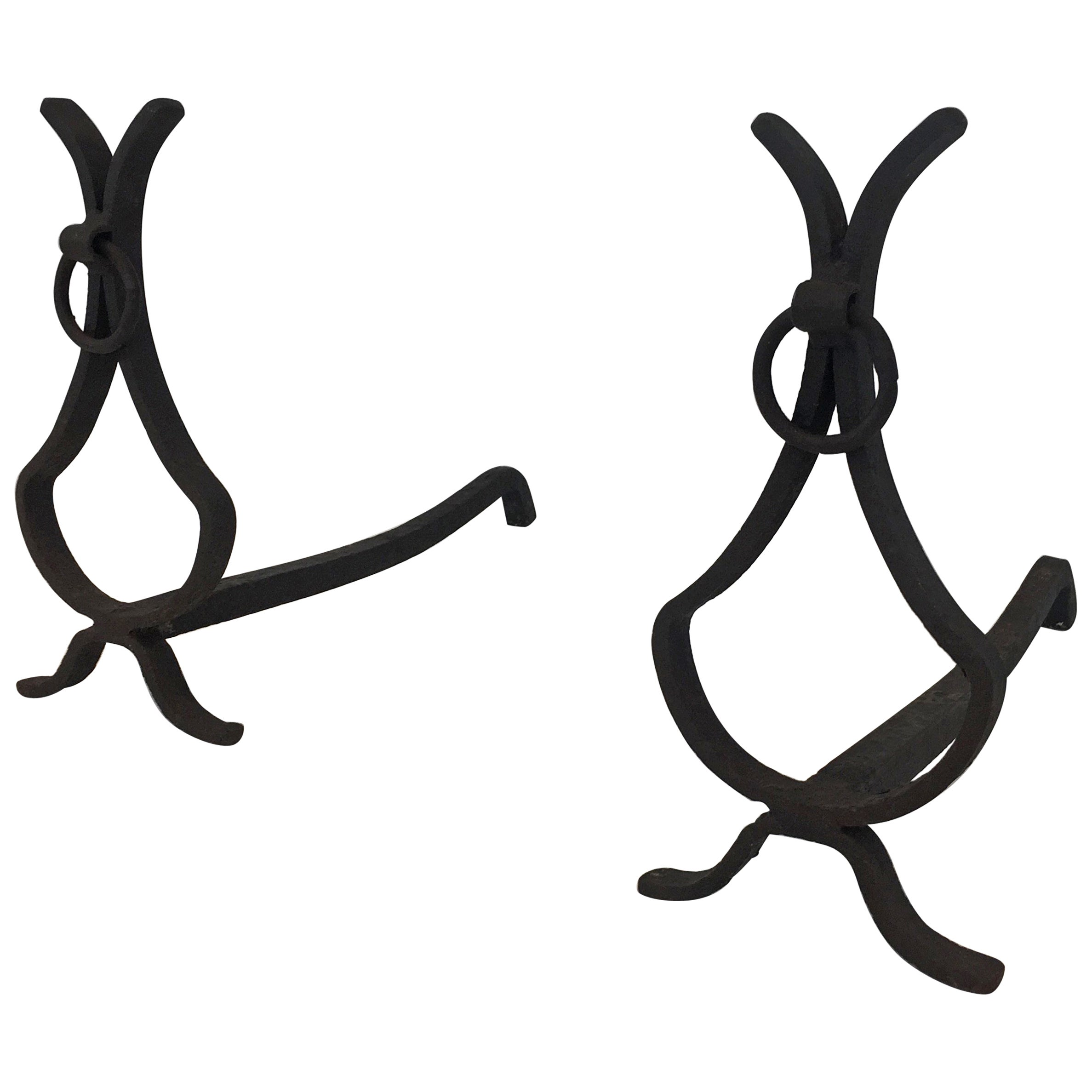 Pair of wrought Iron Andirons, French, circa 1940
