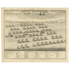 Antique Print of the Hongi/Coracora Fleet by Valentijn '1726'