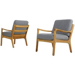 Pair of 1960s Ole Wanscher Oak Lounge Chairs, New Upholstery in Grey, Danish