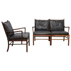 `Colonial` PJ149 sofa and armchair by Ole Wanscher, 1960s, rosewood and leather