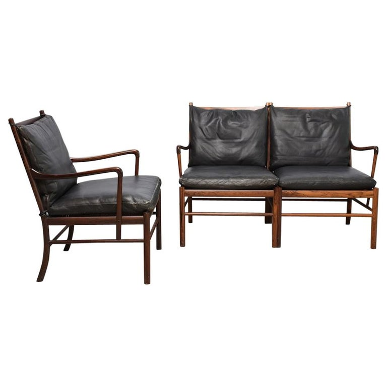 `Colonial` PJ149 sofa and armchair by Ole Wanscher, 1960s, rosewood and leather For Sale