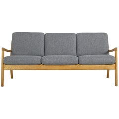 1960s Ole Wanscher Oak Sofa, New Upholstery in Grey, Danish Modern, Midcentury