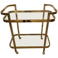 Schnazzy Mid-Century Modern Brass and Glass Bar Cart