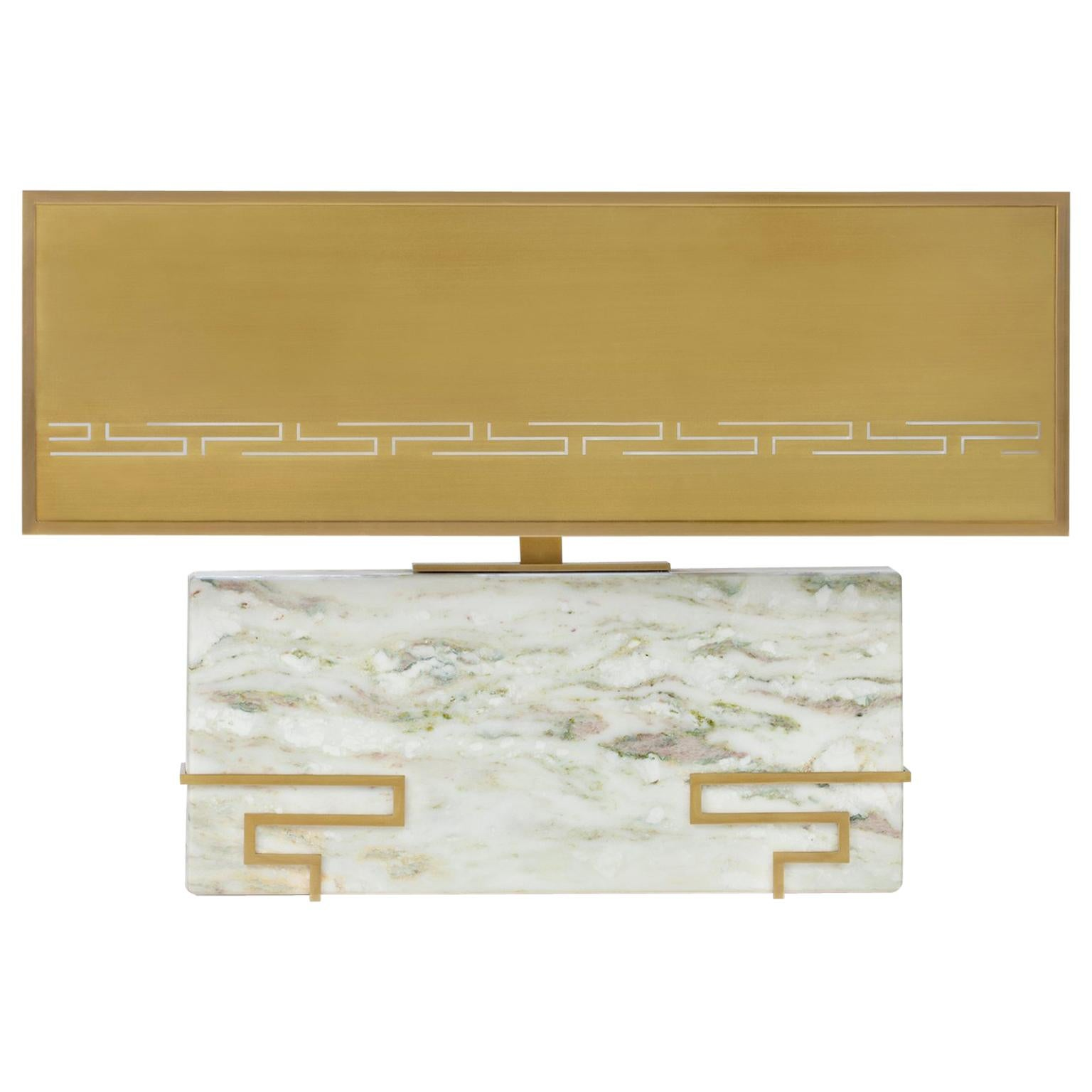 """Contemporary Handmade Table Lamp """"Hypnos"""" Marble with Brass Lampshade by Anaktae"""