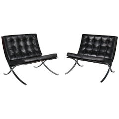 Pair of Barcelona Chairs by Mies Van Der Rohe for Knoll International, USA 1970