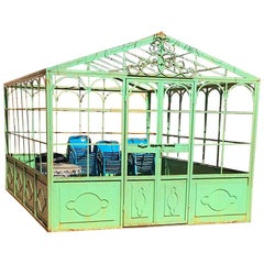 French Style Wrought Iron Greenhouse with Door and Windows in Green Color
