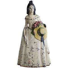 19th Century Cast Iron Hand Painted Polychrome Woman with Straw Hat Doorstop