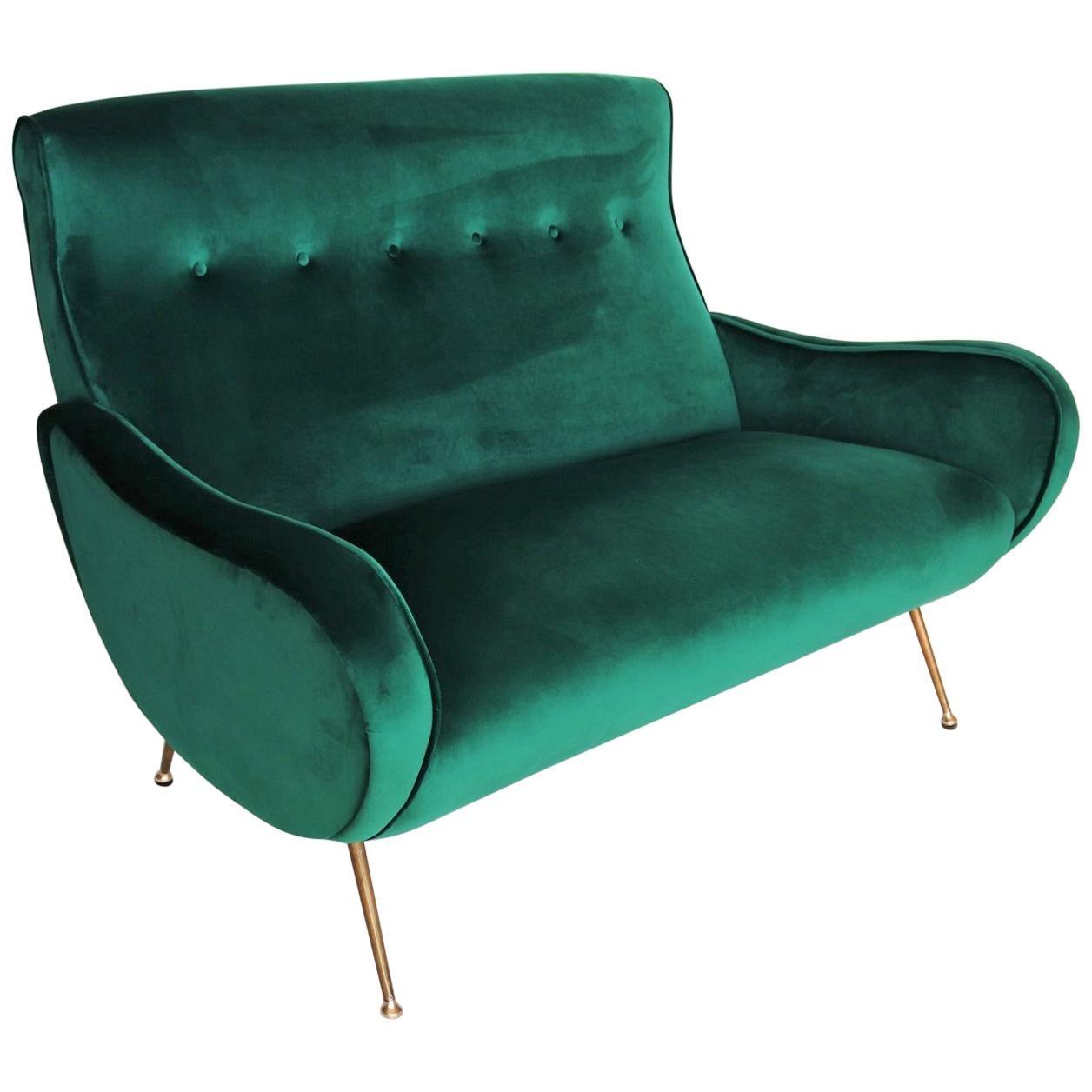 Italian Midcentury Sofa or Settee in Green Velvet and Brass Tipps, 1950s