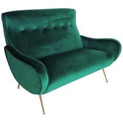 Italian Mid-Century Sofa or Loveseat in Green Velvet and Brass, 1950s