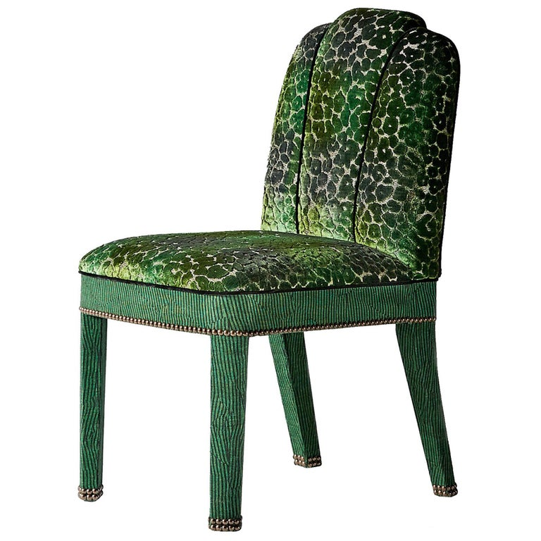 And Objects Abbas Dining Chair, Fully Upholstered in Emerald Green Velvet For Sale