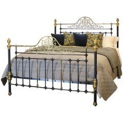 Mid-Victorian Antique Bed in Black, MSK52
