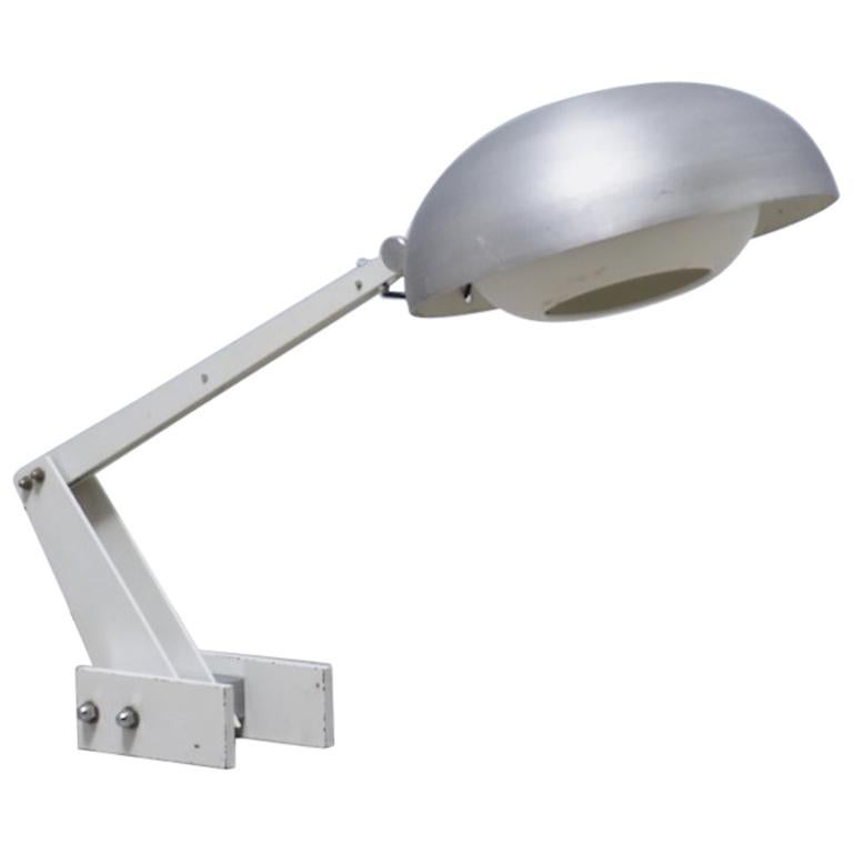 Constructivist table lamp with brushed aluminium screen, 1960s,  For Sale