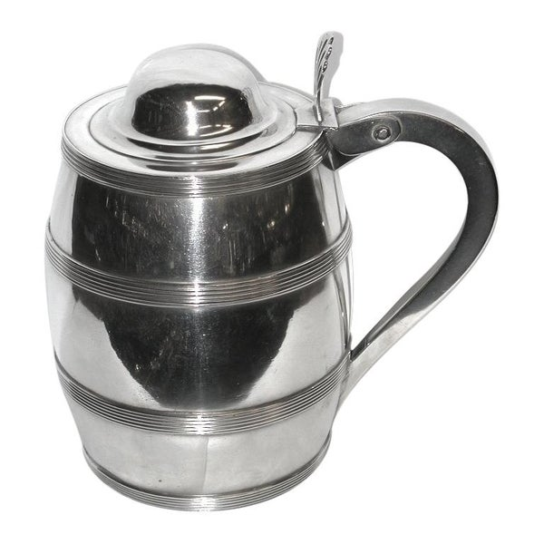 George 111 Irish Silver Barrel Shaped Quart Lidded Tankard, Dublin, 1808