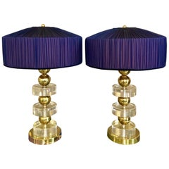 Pair of Clear Glass Murano Lamps and Brass, Double Colored Lampshades, 1970s