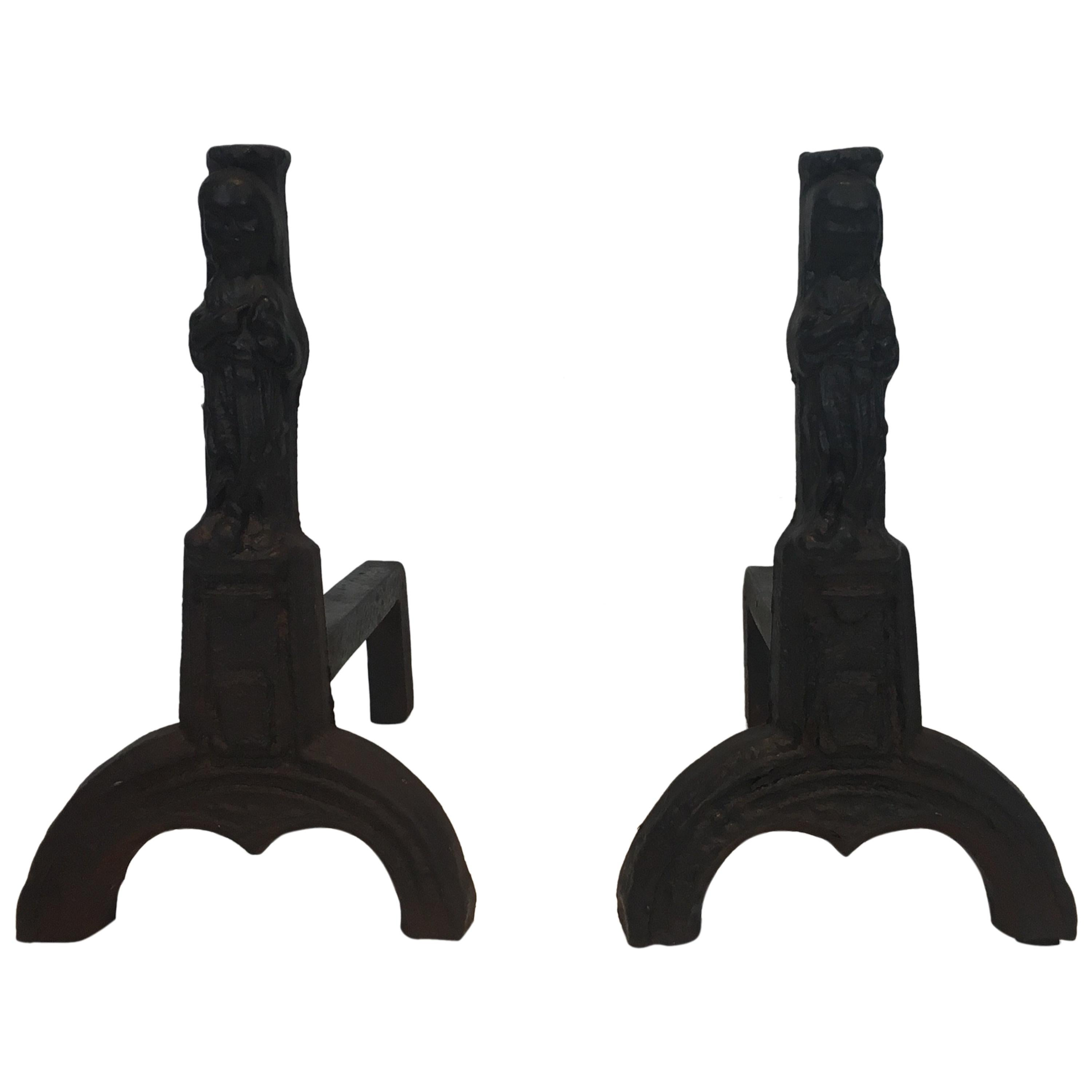 Pair of Cast Iron Andirons Representing an Evangelist, French, circa 1940