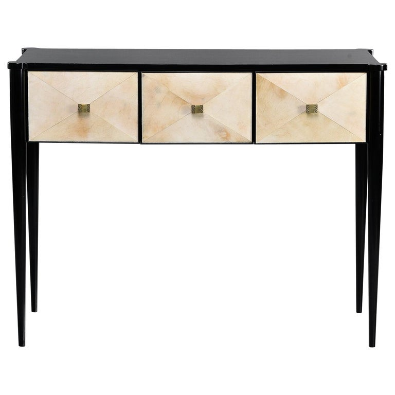 Bespoke Ebonized Console with Vellum Drawers For Sale