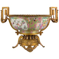 19th Century Chinese Gilt Bronze-Mounted Canton Porcelain Bowl