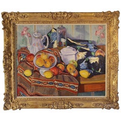 Oil Painting of a Still Life with Apples, Lemons and a Teapot