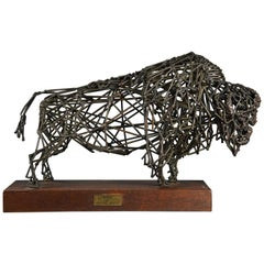 Highly decorative bronze wirework sculpture of a 'Bison' by Daniel Rintoul Booth