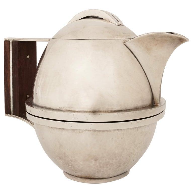 Jean Després, a Rare Tin and Madagascar Ebony Wood Tea-Pot, circa 1930 For Sale