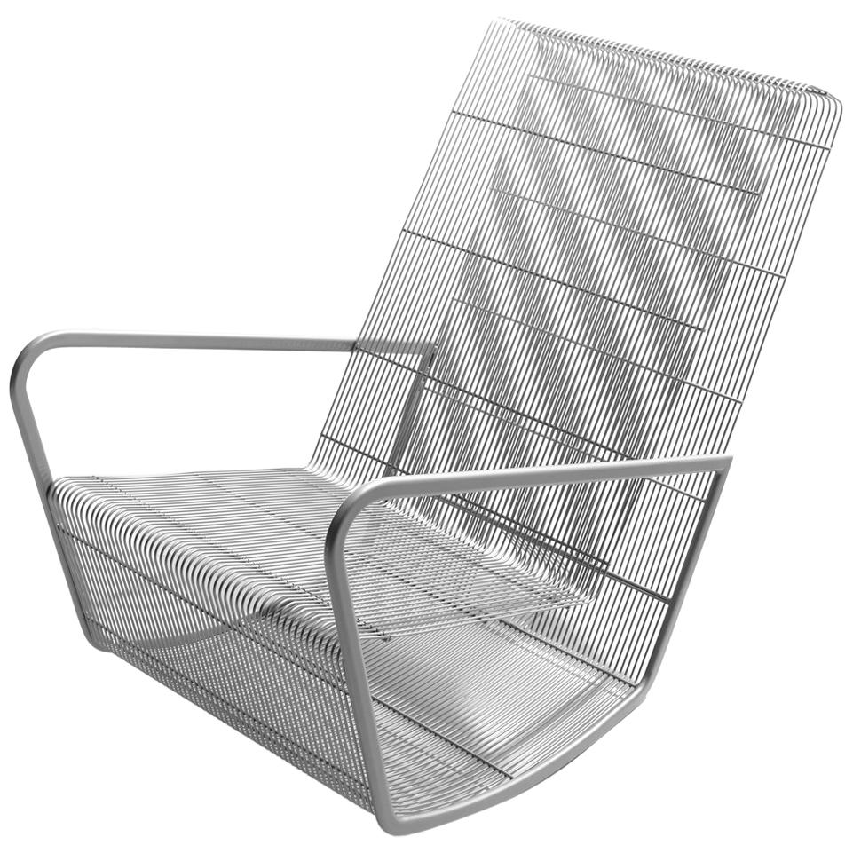 Powder Coated Wire Mesh Outdoor Rocking Chair By Egg Designs