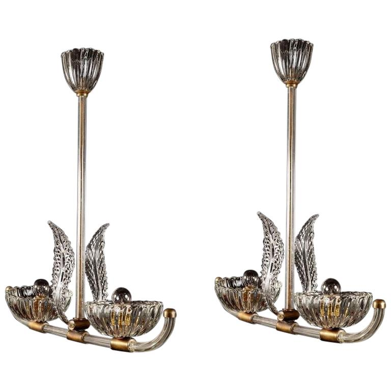 A PAIR of Art Deco Murano Glass and Brass Pendants or Lanterns  by Barovier