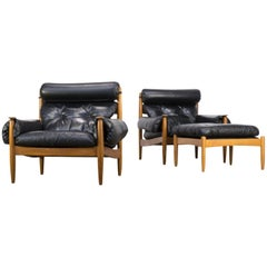 1960s Eric Merthen Lounge Fauteuils Set/2 + Ottoman