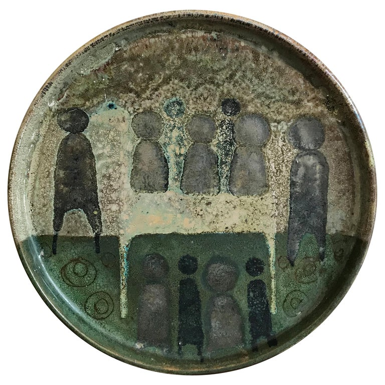 Vanna Faenza Italian Ceramic Centerpiece Dish or Plate, 1960s For Sale