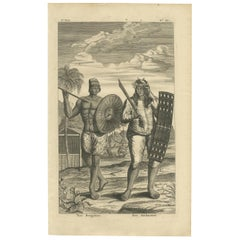 Antique Print of a Buginese and Ambonese Man by Valentijn, 1726