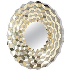 Faceted Mirror in Polished Brass and Steel, Terrace by Jake Phipps
