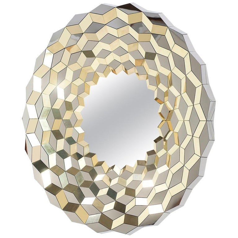 Faceted Mirror in Polished Brass and Steel, Terrace by Jake Phipps For Sale