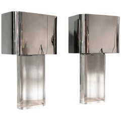 Karl Springer Monumental Pair of Lucite and Stainless Steel Table Lamps