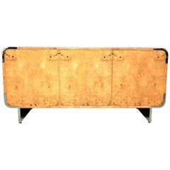 Pace Collection Stainless Steel and Burl Sideboard Console Credenza Cabinet