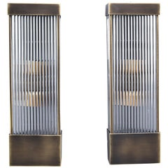 Tall Italian Mid Century Dark Brass and Ribbed Glass Sconces