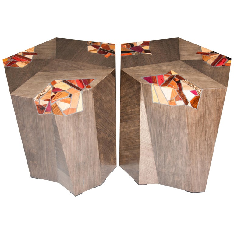 Pair of Grey Angular Pedestal Form Modernists Mosaic Decorated Occasional Tables For Sale