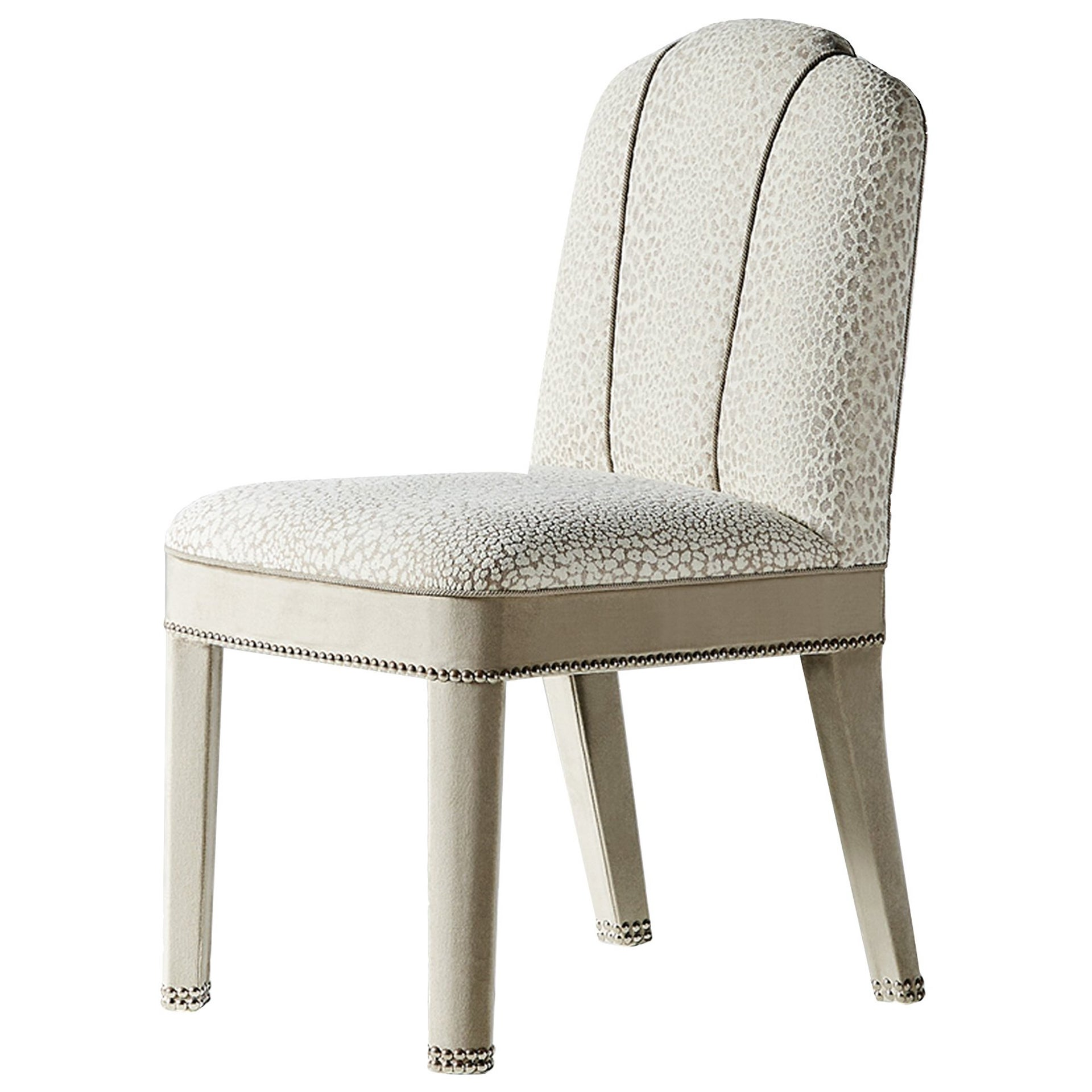 And Objects Abbas Dining Chair, Fully Upholstered in White Velvet & Chrome
