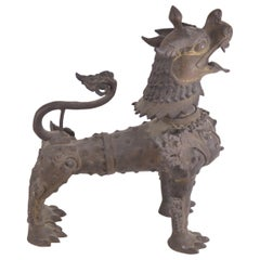 Asian metal sculpture representing Foo Lion