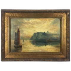 Oil on Canvas Seascape Painting, Signed Scenes from Whitby, England